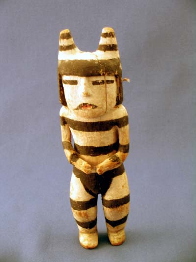 Katsina doll of a Koshare, or Hano Clown, from the Hopi Pueblo Indian tribe in 19th century. (Courtesy of Moqui Trading Company)