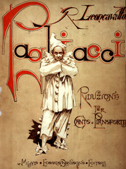 "Cover of the first edition of ""Pagliacci"" published by E. Sonzogno, Milan, in 1892. (Via WikiCommons)"