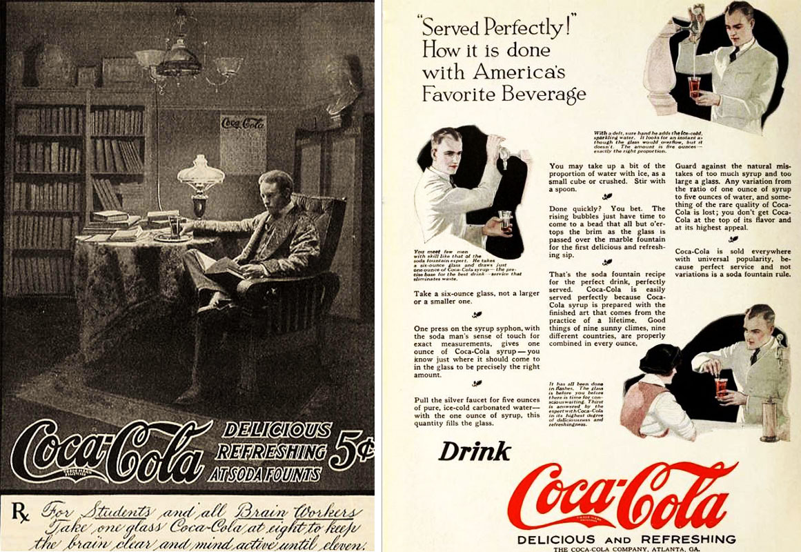 Left Early Coca Cola Ads Like This One From 1905 Emphasized Its