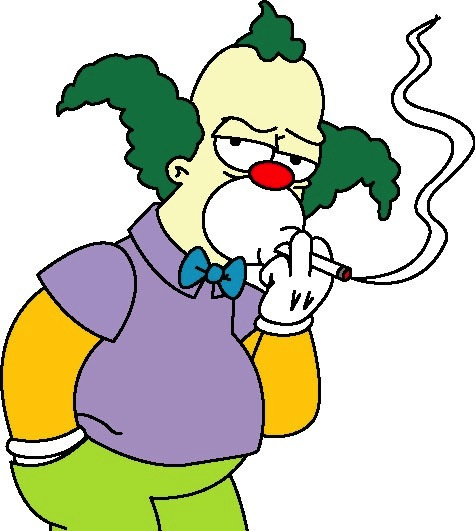"""The chain-smoking Krusty the Clown debuted in """"The Simpsons"""" cartoon in 1989."""