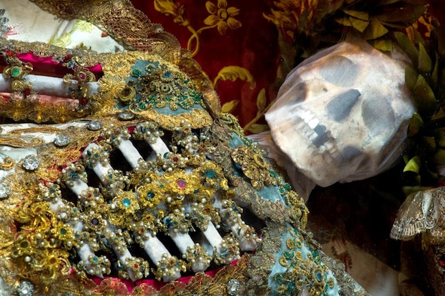 "Skeletons discovered in the Roman Catacombs in the late 16th century, thought to be the remains of early Christian martyrs, were adorned with precious jewels and metals and used as holy relics. (Photo by Dr. Paul Koudounaris, from his book ""Heavenly Bodies""/Morbid Anatomy)"