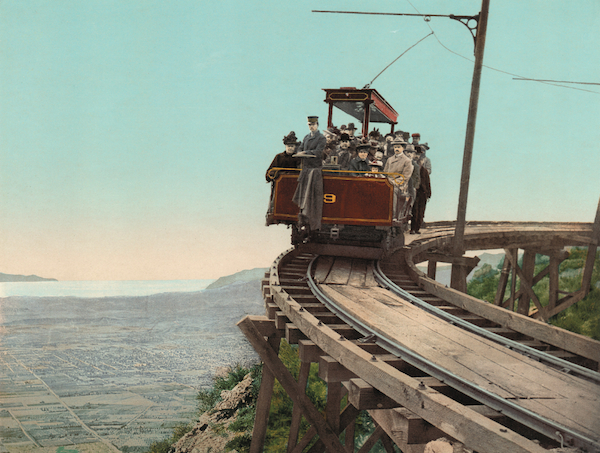 The circular bridge on the Mount Lowe Railway, California, by William Henry Jackson.
