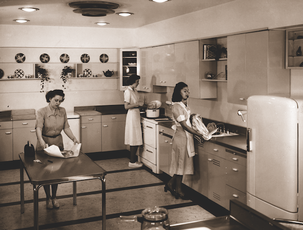 The IH test kitchen in Evansville. From left: Zelma Purchase, Loris Knoll, and Ethel Jean Mitchell.