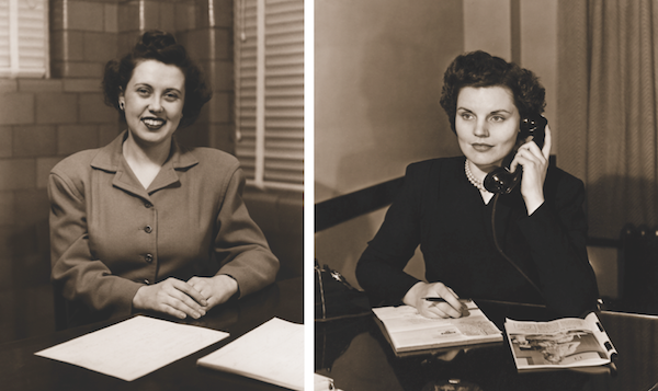 Will the real Irma Harding please stand up? At left and right are Zelma Purchase and Olive White of International Harvester, the two women cited most often for inspiring the Irma Harding character.