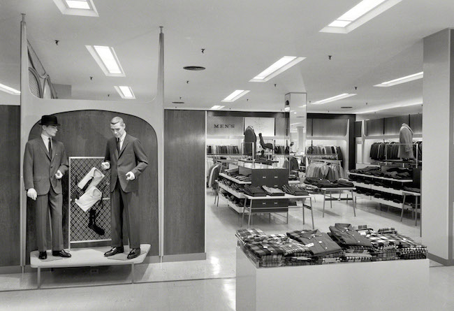 The Loewy-designed men's department in Bloomingdale's in Hackensack, New Jersey in 1959. (Via the Gottscho-Schleisner Collection at the Library of Congress)