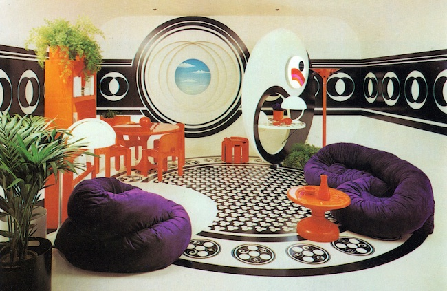 "Other D'Arcy model rooms were wildly Modernist. In ""Bloomingdale's Book of Home Decorating,"" D'Arcy says, ""This room would certainly belong to a member of the Saturday Generation,"" meaning teenagers. (Via nadja robot's Flickr, from Barbara D'Arcy's ""Bloomingdale's Book of Home Decorating"" from 1973)"