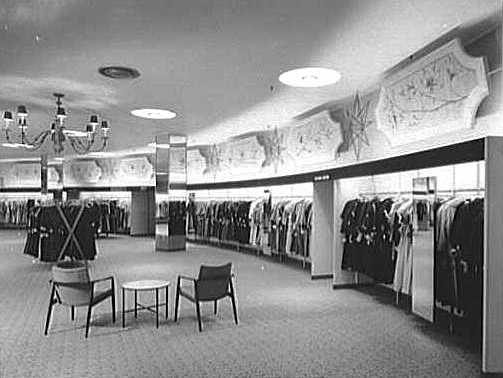 Women's clothing on display at a Loewy-designed Gimbels in Valley Stream, Long Island. (Via the Gottscho-Schleisner Collection at the Library of Congress)