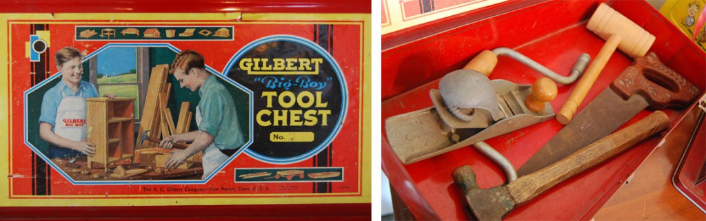 "Though all kids need fix-it skills, this Gilbert ""Big Boy"" Tool Chest (owned by Eskander's husband) is the type of toy parents don't typically buy for their daughters."