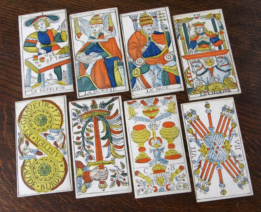 This woodblock version of the classic Tarot de Marseille was published around 1751 by Claude Burdel. Photo courtesy Bill Wolf.