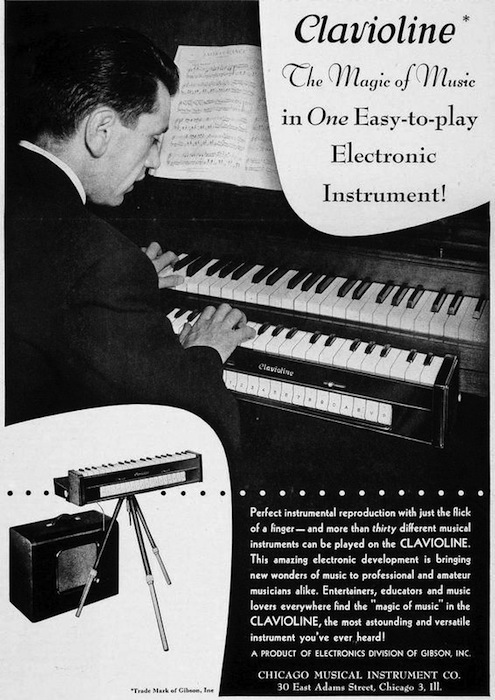 This ad for the Gibson-licensed Clavioline shows it on a stand and mounted below a piano's keyboard. Photo via Phil's Old Radios.