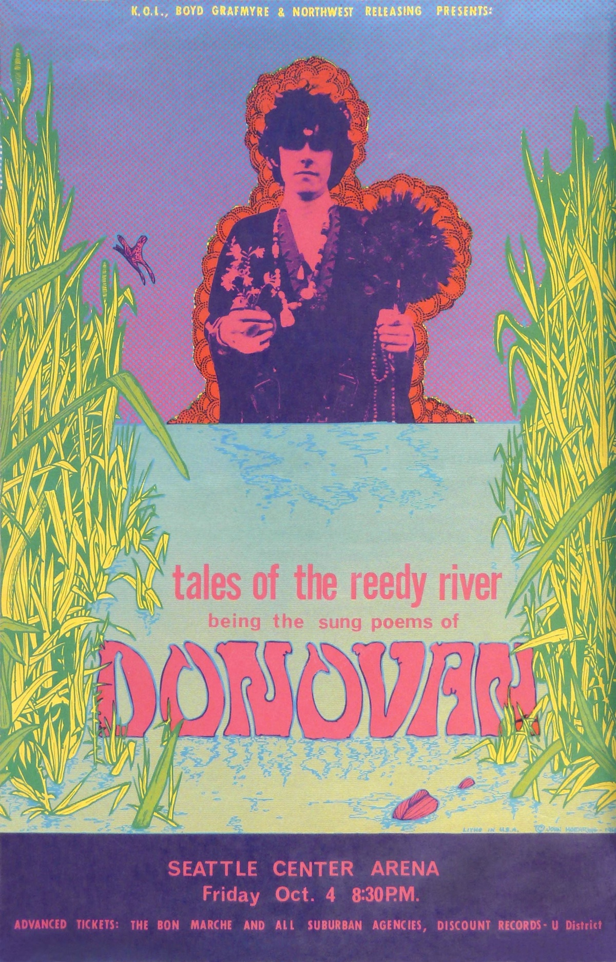 According to author and artist Scott McDougall, John Moehring, who designed this poster for a 1968 Donovan concert, was one of the best Seattle poster artists of the late 1960s.