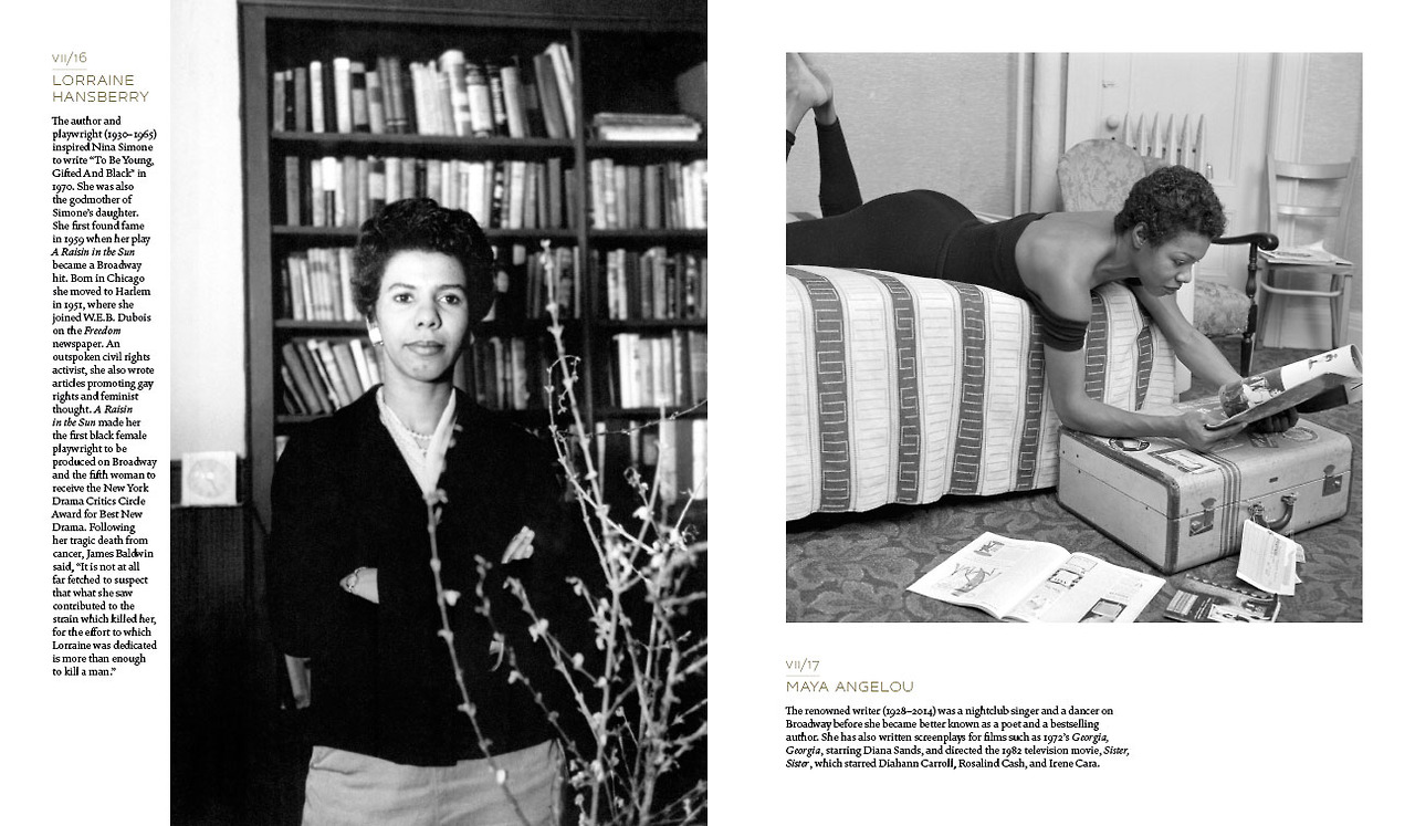 "Playwright Lorraine Hansberry across from poet and memoirist Maya Angelou in ""Vintage Black Glamour."""