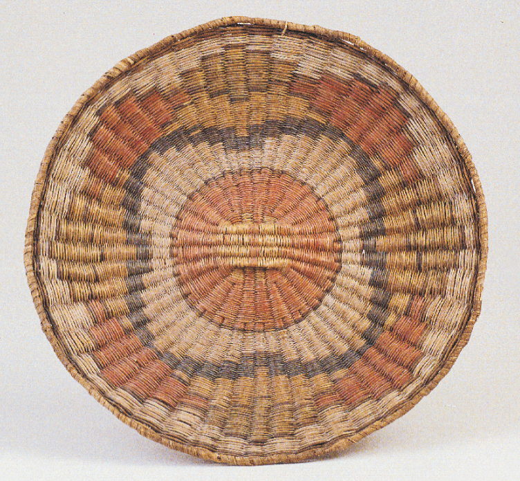 This circa-1900 wicker plaque from the Blaugrund collection is characteristic of the work of Hopi weavers who lived at Third Mesa.