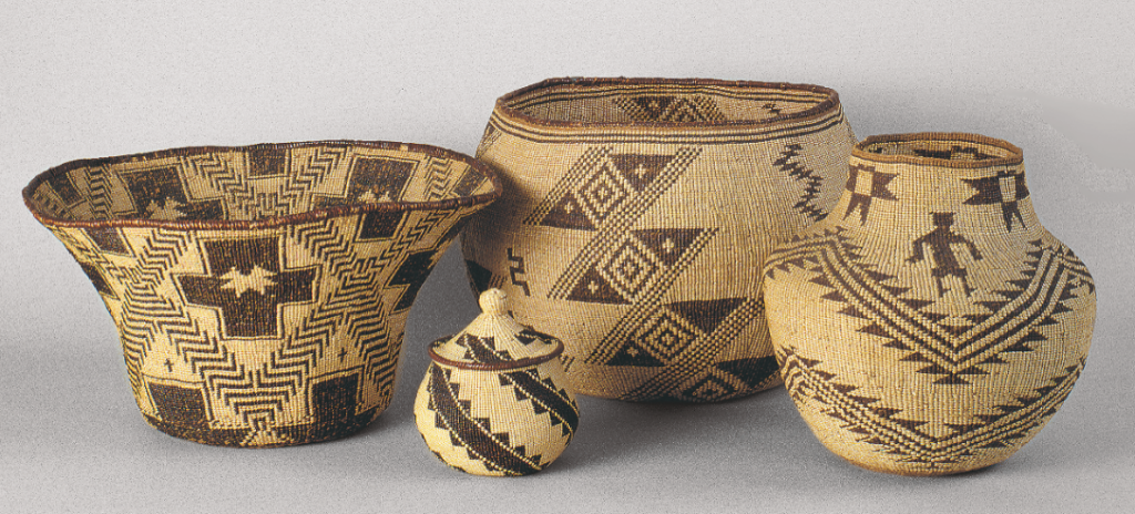 A selection of Achumawi-Atsugewi twined basketry from the Blaugrund collection.