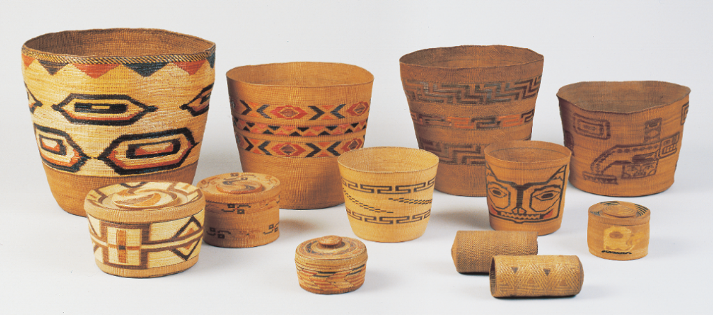 This group of Tlingit spruce root basketry items from the Blaugrund collection includes pail shapes, which were used to gather berries.