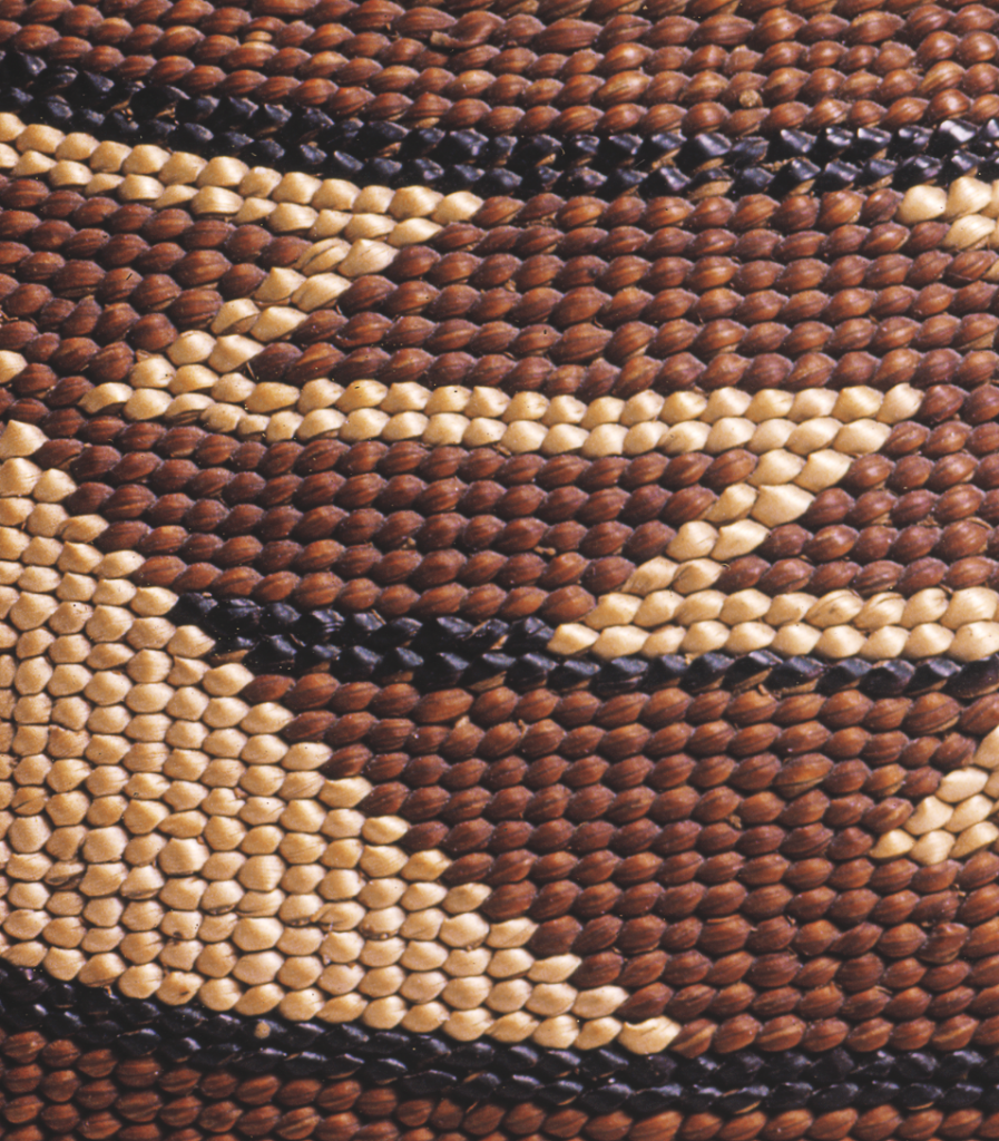 Detail of twining shows the deep red-brown color of dyed Woodwardia, white beargrass, and black maidenhair fern stem.