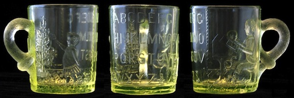 "An Adams &amp; Co. Vaseline glass mug to help children learn their ABCs, circa 1880s. Photo via Dave Peterson at <a href=""http://www.vaselineglass.org/"">VaselineGlass.org</a>"