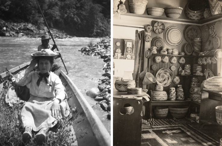 Left: Grace Nicholson on the hunt for baskets in northern California. Right: Nicholson's shop in Pasadena. Both photos from 1906. Via Verso.