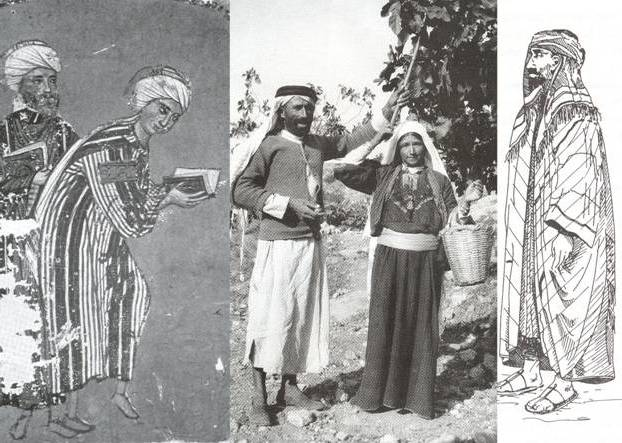 "Top: In the January 1965 issue of ""Vogue,"" Veruschka wears a hooded caftan by Emilio Pucci at Lake Tanganyika in Tanzania. (Photo by Henry Clarke, via MelanieBiehle.com) Above: Traditional Arabic dress ranging from 13th century to 1923. (From the 2004 book ""Encyclopedia of Islam"")"