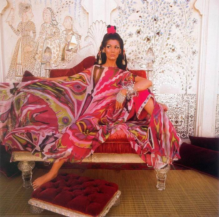 "Simone D'Aillencourt wears a Pucci caftan for a 1967 ""Vogue"" photo shoot at Lake Palace in Udaipur, India. (Photo by Henry Clarke, via JunoSaysHello.blogspot.com)"