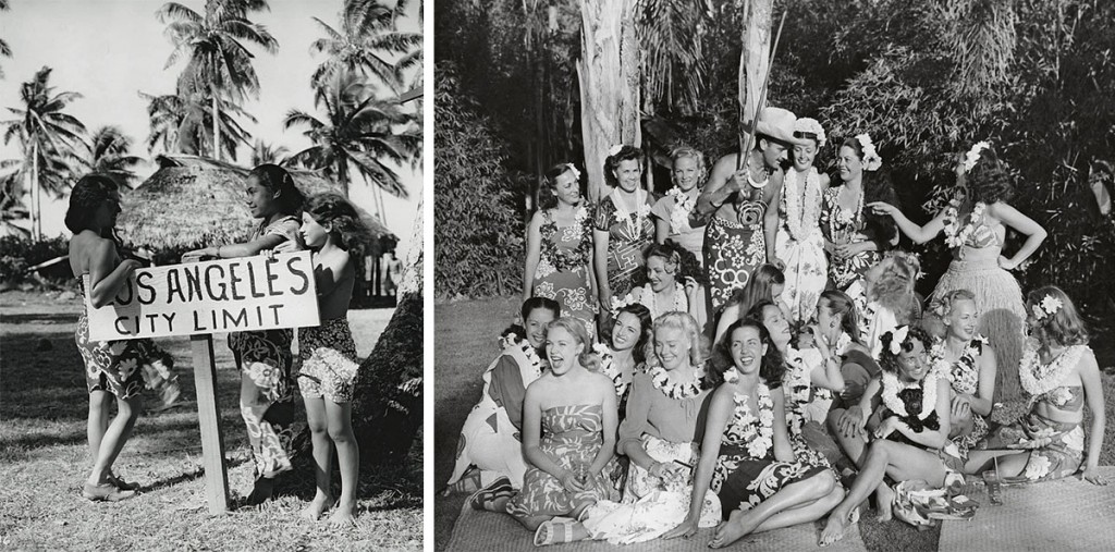 Left, a mock sign on the set of a Polynesian film in Hollywood. Right, Ernest Gantt, or Don the Beachcomber (center, in 1946), made his exotic parties the envy of all America.