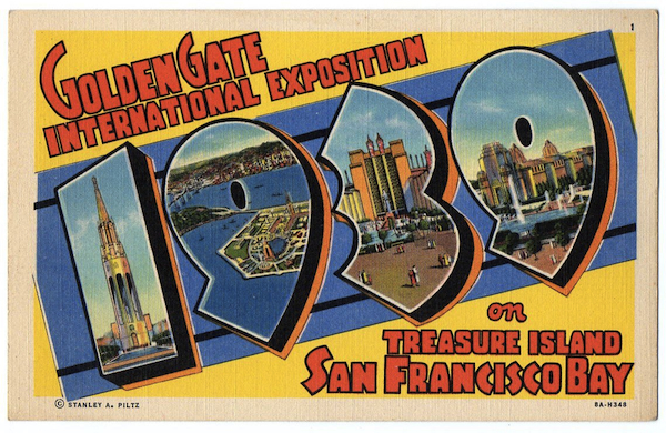 Though published by Stanley A. Piltz of San Francisco, the stock number of this large-letter postcard (seen at lower right) identifies it as a Curt Teich card, printed in 1938.