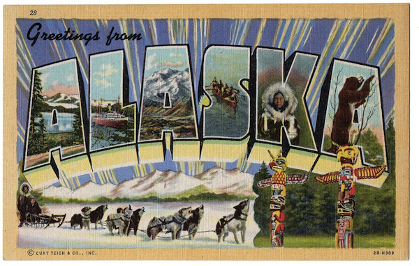Curt Teich printed exactly one card for the state of Alaska. According to postcard lore, the 1942 cards were not good sellers, and so the retailer who ended up with boxes of them eventually threw them in a dumpster, creating instant scarcity.