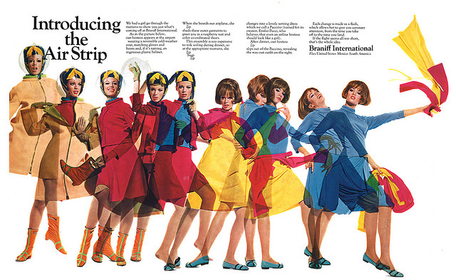 A 1965 ad promotes Braniff International's Air Strip gimmick.