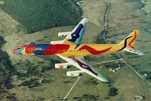"In 1973, Braniff asked artist Alexander Calder to paint one of its Douglas DC-8s, which became known as ""Flying Colors."" (Via SuperRadNow.wordpress.com)"