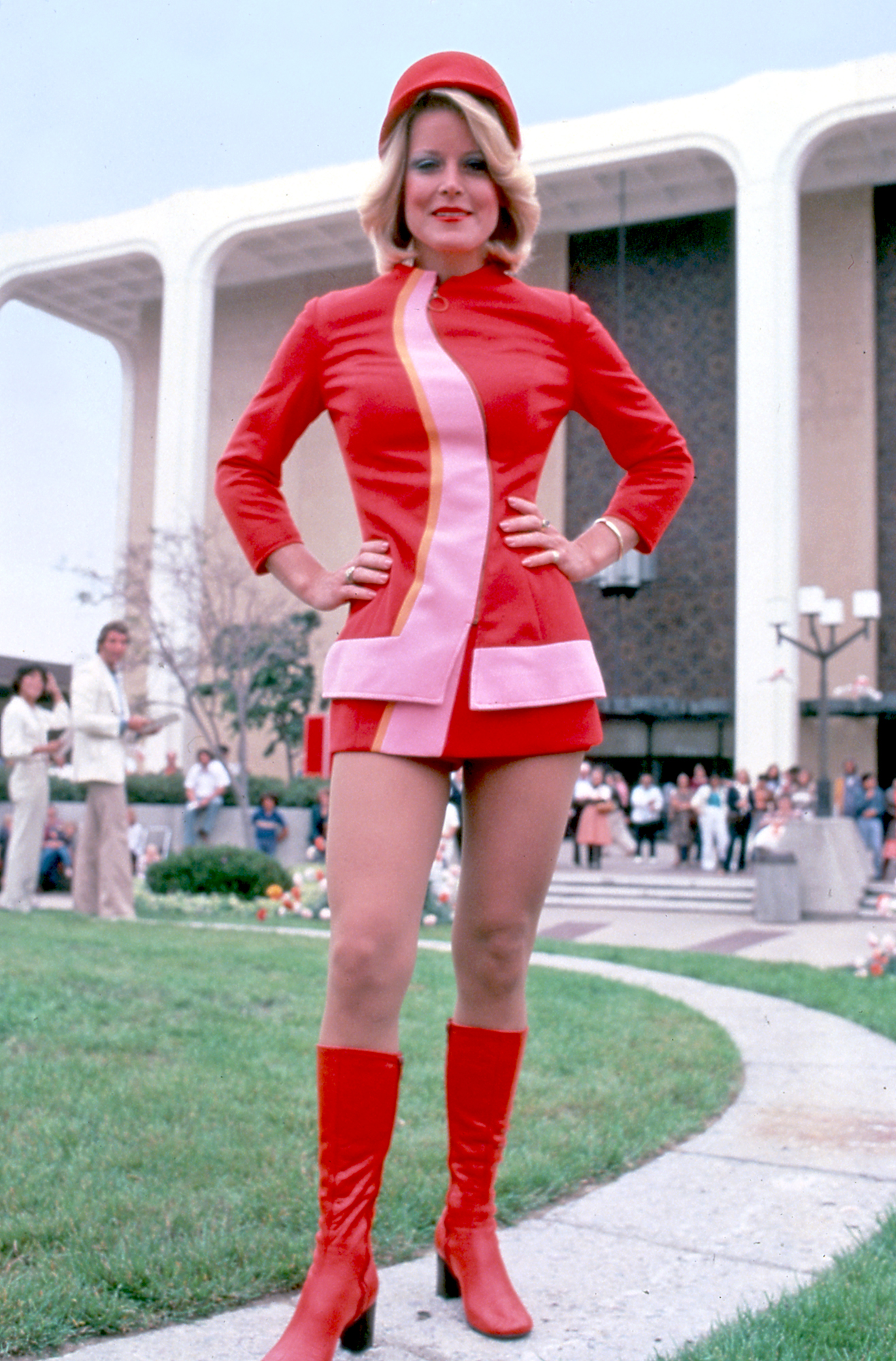 A flight attendant poses in her Pacific Southwest Airline uniform in 1973. (Via Museum of Flight)