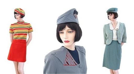 A variety of TWA stewardess looks: 1968-1971, left; 1944-1955, center; and 1967-1968, right. (Via Uniform Freak)