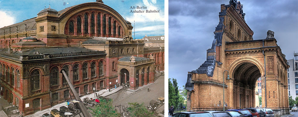 Left, Berlin's Anhalter Bahnhof as it appeared in the 1920s. Right, the ruined facade now stands before a large sports field.