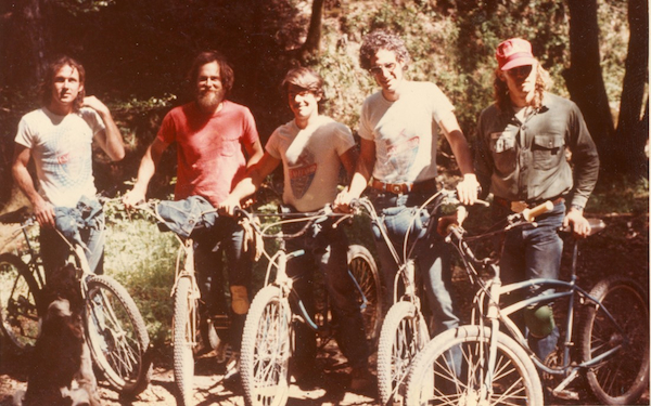 Before Breezers and the MountainBikes made by Charlie Kelly and Gary Fisher, Schwinn Excelsiors were the bikes of choice for many Marin riders, including (left to right) Alan Bonds, Benny Heinricks, Ross Parkerson, Jim Stern, and Charlie Kelly.