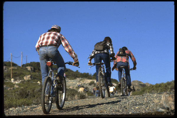 From left to right, Joe Breeze, Wende Cragg, and Fred Wolf riding up Pine Mountain Truck Road from the Azalea Hill parking lot to the top of Repack.