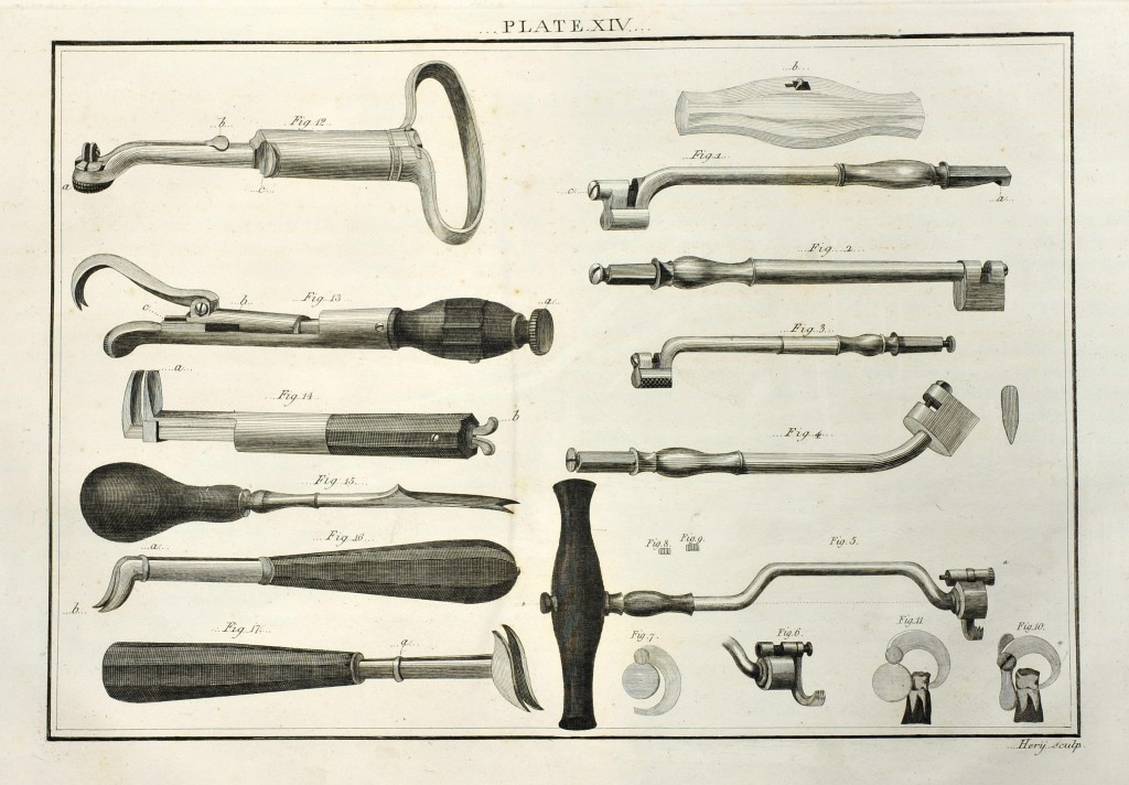 An illustration of dental keys for tooth extraction from Savigny's catalog of surgery implements, circa 1798.