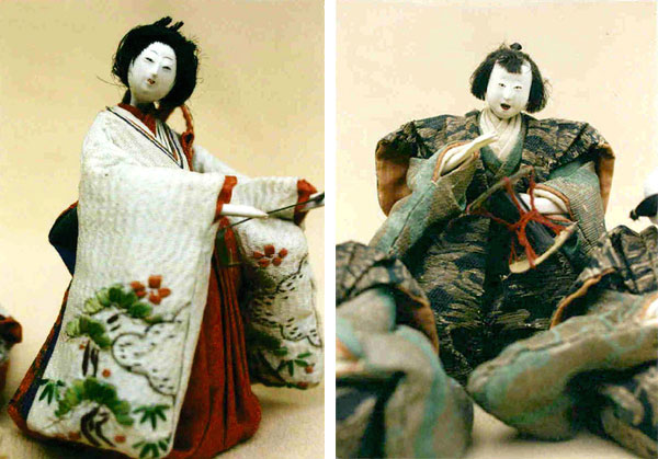 Two Japanese dolls from Huguette Clark's collection, from snapshots among her personal papers. (Via the estate of Huguette M. Clark from EmptyMansionsBook.com)