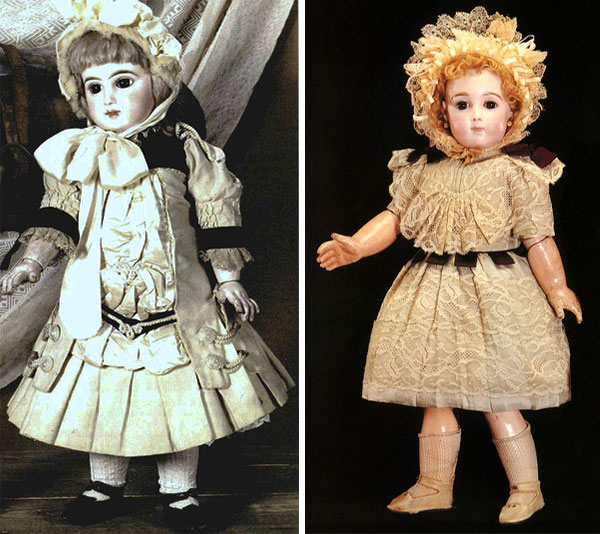 Top: Huguette Clark as a teenager. Above: Two antique French china dolls from Clark's collection. (Photos via the Estate of Huguette M. Clark and Sotheby's, from EmptyMansionsBook.com)