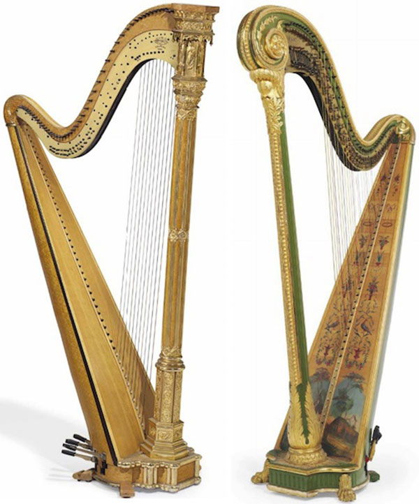 These two Erard 47-string double-action concert harps, from 1912-1915, belonged to Huguette's mother, Anna. The Gothic style harp, at left, sold for $13,750, while the Louis XV style harp, at right, sold for $21,250. (Via Christies.com)