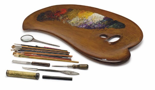 Huguette's art palette, brushes, and other painting tools. (Via Christies.com)