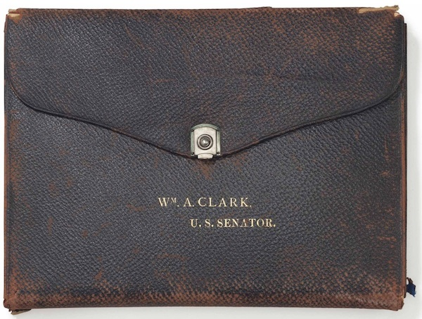 "A leather porte embossed with the words ""Wm. A. Clark U.S. Senator"" sold for $16,250. (Via Christies.com)"