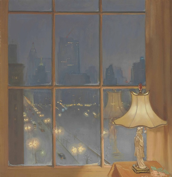 "Huguette painted her view over Central Park in ""Scene from My Window—Night."" The painting sold for $23,750. (Via Christies.com)"