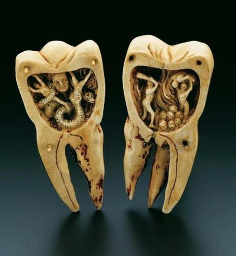 "This ivory tooth sculpture from the mid-18th century called ""The Tooth Worm as Hell's Demon"" opens to reveal the painful and demonic tooth worms at work. Via the Chirurgeon's Apprentice."