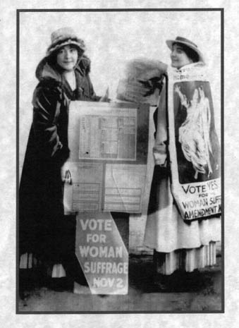 "Rose O'Neil and her sister Callista campaign for women's suffrage. (Via ""Pretty in Ink"")"