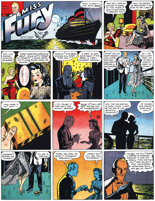"In Tarpe Mills' 1940s comic strip ""Miss Fury,"" socialite Marla Drake has all sorts of noir-style adventures and sometimes even fights crime as a costumed crusader in a panther suit. (Via PrintMag.com)"