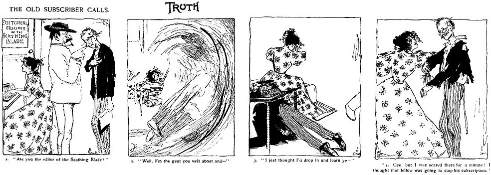 "Top: Lily Renée's cover for the November 1945 issue of Fiction House's ""Planet Comics,"" featuring ""Mysta of the Moon."" Above: Trina Robbins found a copy of the first published comic strip by a woman, Rose O'Neill's ""The Old Subscriber Calls"" for ""Truth"" magazine in 1896, at a yard sale. Click image to enlarge. (Via ""Pretty in Ink"")"