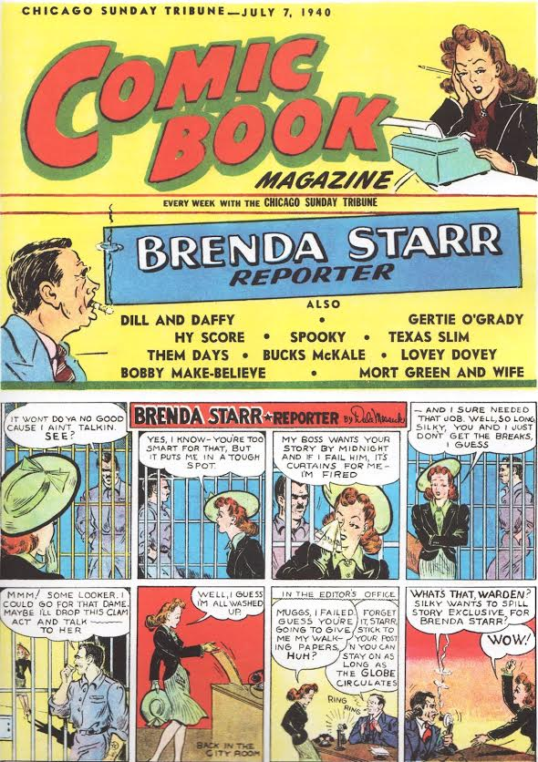 "Dale Messick stepped into male territory when she created the action-adventure strip, ""Brenda Starr, Reporter,"" in 1940. Click image to enlarge. (Via ""Pretty in Ink"")"