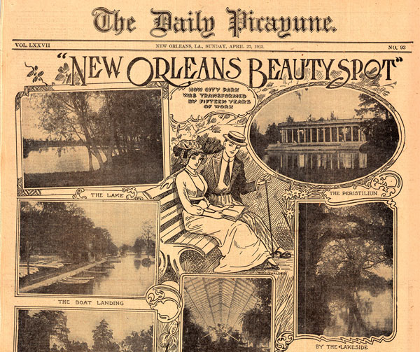 "This 1913 feature section on ""beauty spots"" around New Orleans' City Park shows how illustration and photography were combined in period newspapers."