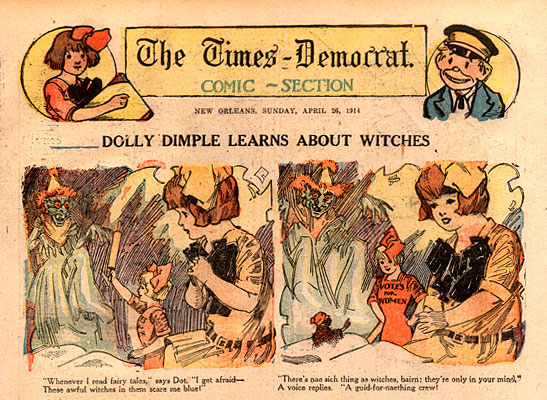 """Dolly Dimple Learns About Witches,"" cartoon sheet from 1914."