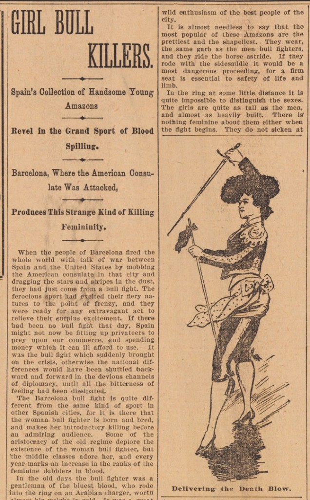 "This 1896 article with illustrations of female bullfighters in Barcelona, Spain, inspired Makkos to write <a href=""http://noladna.com/death-in-the-new-orleans-afternoon/"">an article </a>on bullfighting in New Orleans."