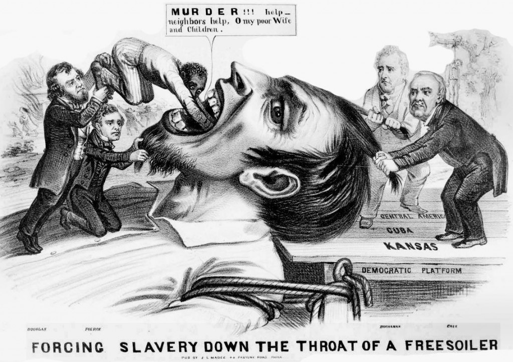 This political cartoon from 1854 expresses the tensions between existing slave states like Missouri and new additions to the Union like Kansas.